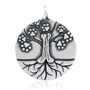 Sterling Silver Dog Tree Of Life Pendant with Paw Prints and Dog Bone
