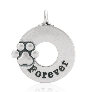 Sterling Silver Forever Dog Paw Print Pendant