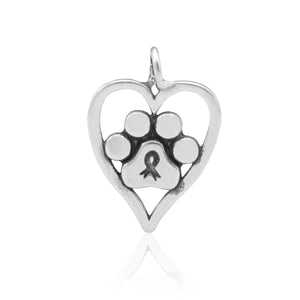 Sterling Silver Forever Paw Print Cancer Awareness Ribbon Heart Paw Print Pendant