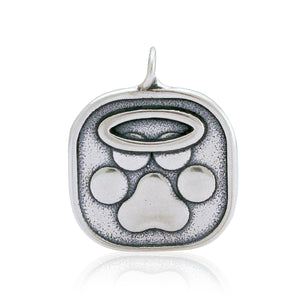 Sterling Silver I Believe in Angels Halo Angel Dog Paw Print Memorial Pendant