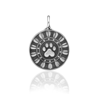 Sterling Silver Reflection Paws Dog Paw Print Pendant Circled By Ethereal Rays