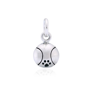 Sterling Silver Tennis Ball with Dog Paw Print Agility Charm