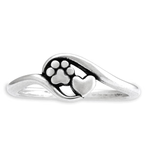 Sterling Silver Close To My Heart Heart and Dog Paw Print Wrap Ring