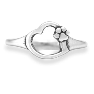 Sterling Silver Paws on My Heart I Love My Dog Heart with Dog Paw Print Ring