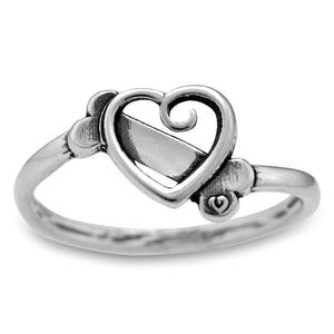 Sterling Silver K-9 Cupid Scrolled Heart with Dog Bone Ring