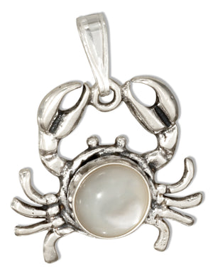 Sterling Silver Crab with Mother Of Pearl Concho Pendant