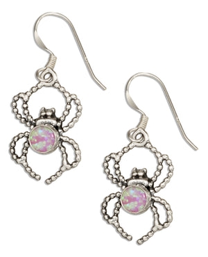 Sterling Silver Spider with Synthetic Pink Opal Dangle Earrings