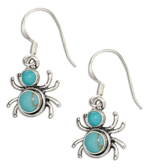 Sterling Silver Widow Spider with Simulated Turquoise Conchos Dangle Earrings