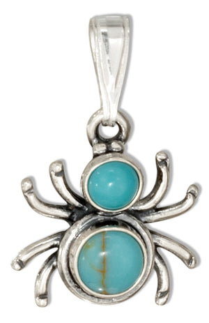 Sterling Silver Widow Spider with Simulated Turquoise Conchos Pendant