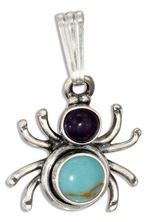 Sterling Silver Widow Spider with Amethyst & Simulated Turquoise Conchos Pendant