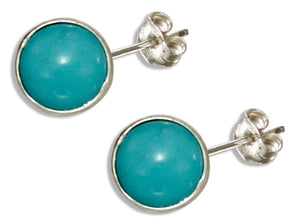 Sterling Silver 5mm Round Simulated Turquoise Post Earrings