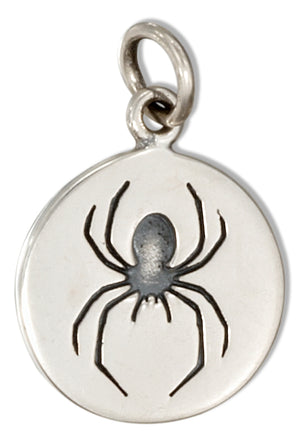 Sterling Silver Round Disk with Spider Charm