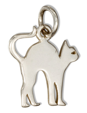 Sterling Silver Silhouette Scared Cat Charm