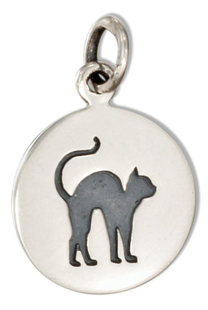 Sterling Silver Round Disk with Scared Black Cat Charm