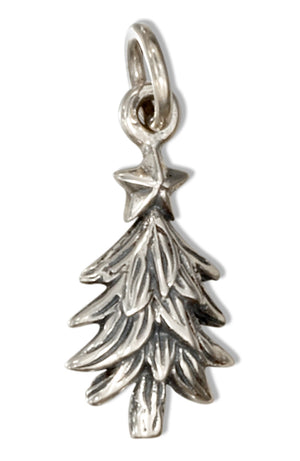 Sterling Silver Christmas Tree Charm with Star