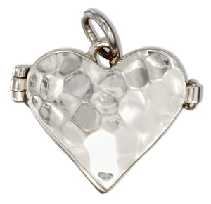 Sterling Silver Hammered Heart Locket