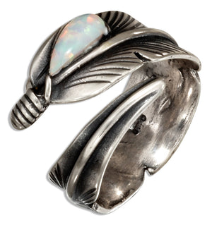 Sterling Silver Adjustable Wrap Feather Ring with Synthetic White Opal Teardrop