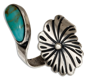 Sterling Silver Adjustable Wrap Flower Ring with Green Reconstituted Turquoise
