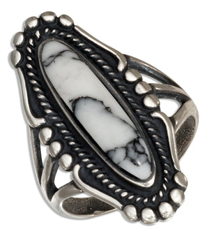 Sterling Silver Elongated Oval Reconstituted Howlite Ring