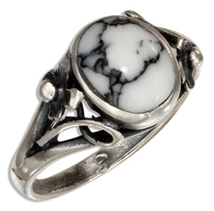 Sterling Silver Reconstituted Howlite Ring with Small Flower Scrolled Shank