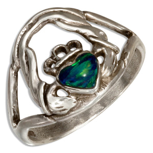 Sterling Silver Synthetic Green Opal Claddagh Ring