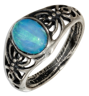 Sterling Silver Synthetic Blue Opal Ring with Spiders