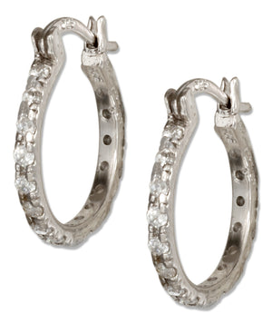 Sterling Silver 18mm Pave Cubic Zirconia Hoop Earrings