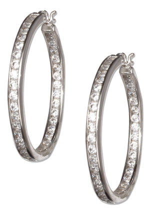 Sterling Silver 34mm Pave Cubic Zirconia Hoop Earrings