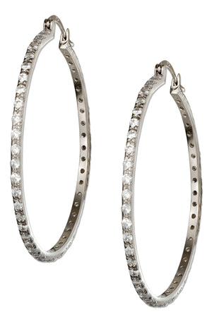 Sterling Silver 54mm Pave Cubic Zirconia Hoop Earrings