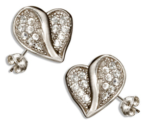Sterling Silver Micro Pave Cubic Zirconia Mini Heart Earrings