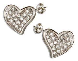 Sterling Silver Micro Pave Cubic Zirconia Heart Earrings