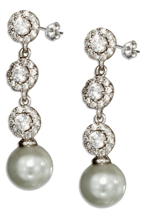 Sterling Silver Cubic Zirconia and Cultured Pearl Post Drop Earrings