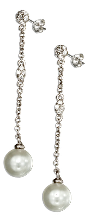 Sterling Silver Flower Cubic Zirconia and Cultured Pearl Post Drop Earrings