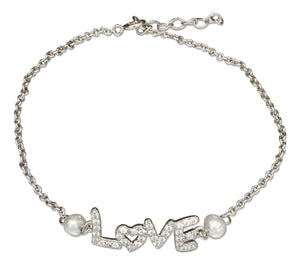 "Sterling Silver 7 inch to 8 inch Adjustable Cubic Zirconia ""Love"" Bracelet with Fresh Water Cultured Pearl"