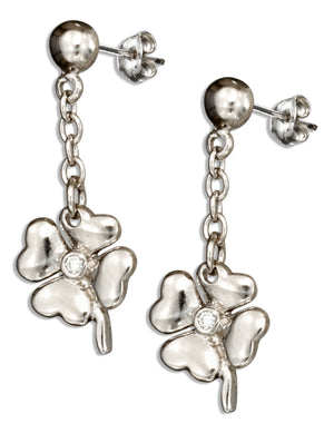 Sterling Silver Four Leaf Clover Earrings with Cubic Zirconia Accent