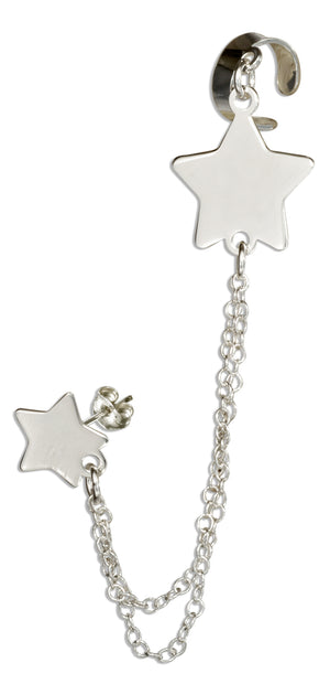 Sterling Silver Italian Star Post Earring with Chain and Cuff
