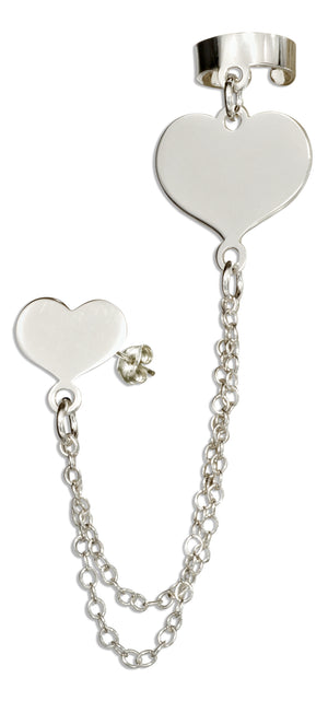 Sterling Silver Italian Heart Post Earring with Chain and Cuff