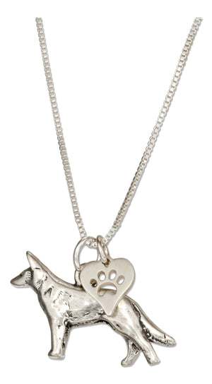 Sterling Silver 18 inch German Shepherd Necklace with Dog Paw Print Heart Pendant