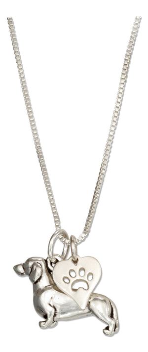 Sterling Silver 18 inch Dachshund Necklace with Dog Paw Print Heart Pendant