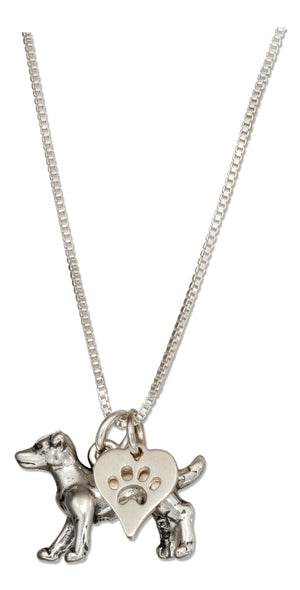 Sterling Silver 18 inch Jack Russell Terrier Necklace with Dog Paw Print Heart Pendant