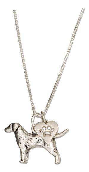 Sterling Silver 18 inch Labrador Retriever Necklace with Dog Paw Print Heart Pendant
