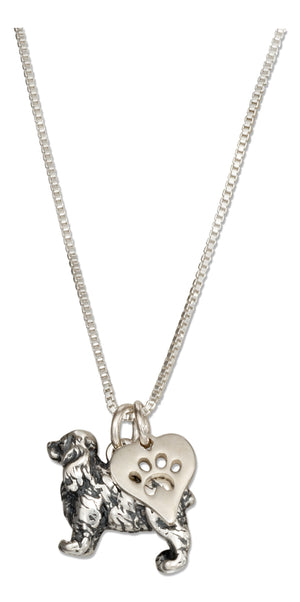 Sterling Silver 18 inch Cocker Spaniel Necklace with Dog Paw Print Heart Pendant