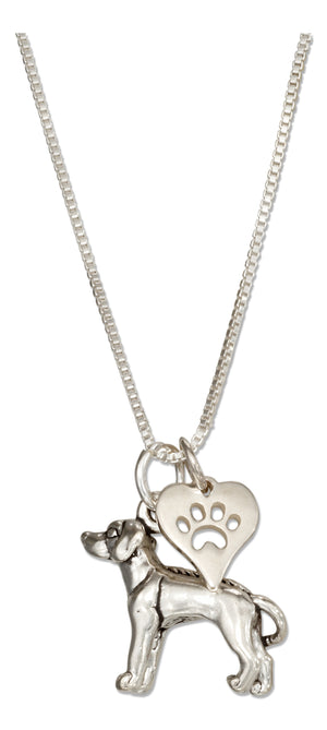 Sterling Silver 18 inch Rhodesian Ridgeback Necklace with Dog Paw Print Heart Pendant