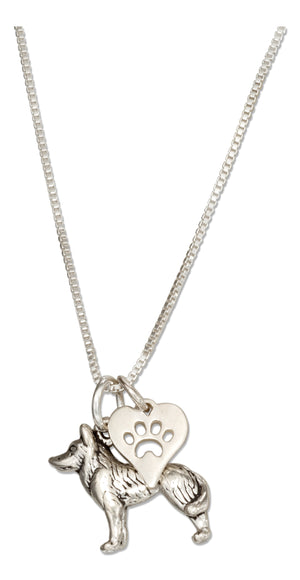 Sterling Silver 18 inch Siberian Husky Necklace with Dog Paw Print Heart Pendant