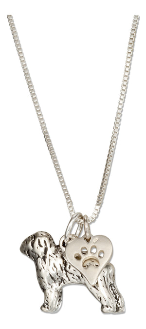 Sterling Silver 18 inch Old English Sheepdog Necklace with Dog Paw Print Heart Pendant