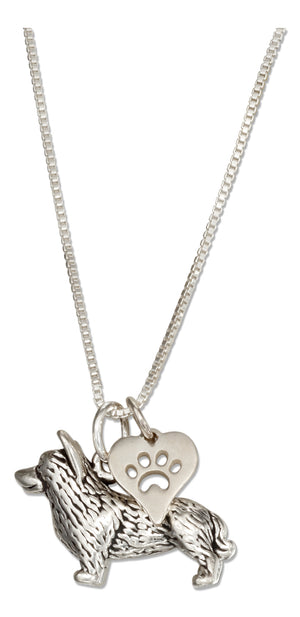 Sterling Silver 18 inch Corgi Necklace with Dog Paw Print Heart Pendant