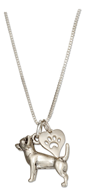 Sterling Silver 18 inch Chihuahua Necklace with Dog Paw Print Heart Pendant