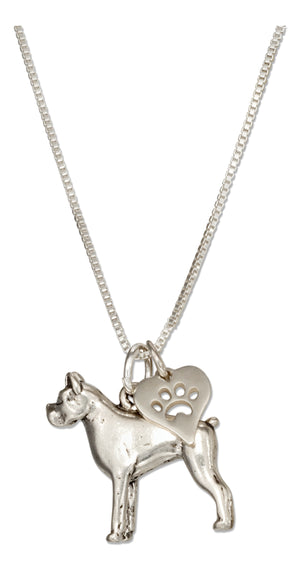 Sterling Silver 18 inch Boxer Necklace with Dog Paw Print Heart Pendant