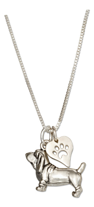 Sterling Silver 18 inch Basset Hound Necklace with Dog Paw Print Heart Pendant