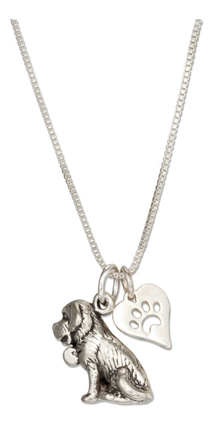 Sterling Silver 18 inch St Bernard Necklace with Dog Paw Print Heart Pendant